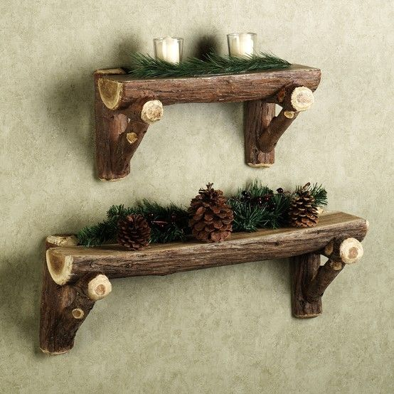 Rustic Timber Log Wall Shelf... I love this look!