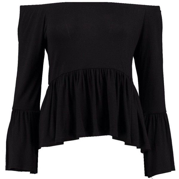 Boohoo Petite Frankie Flute Long Sleeve Top (£12) ❤ liked on Polyvore featuring tops, petite long sleeve tops, boohoo tops, petite tops and long sleeve tops