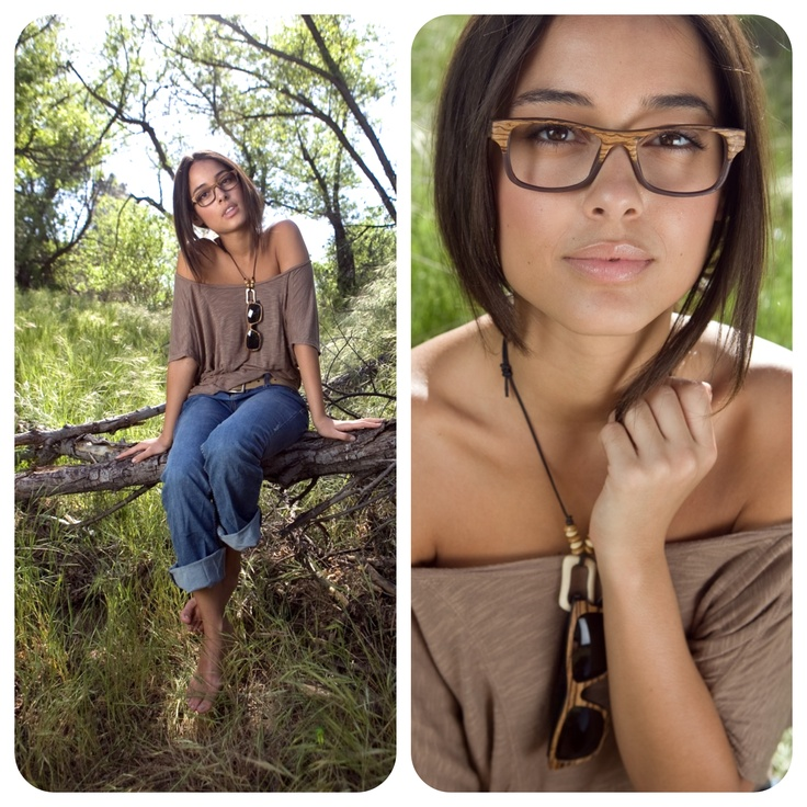 Wood glasses by Sire's Crown. Model: Chelsea Gilligan. Hiroki frame in Olive Ash Burl wood