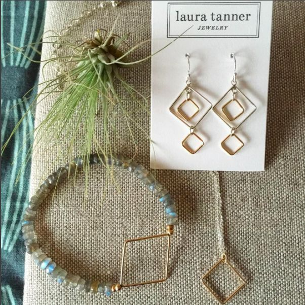 Lovely gold and labradorite pieces from our Quadra collection