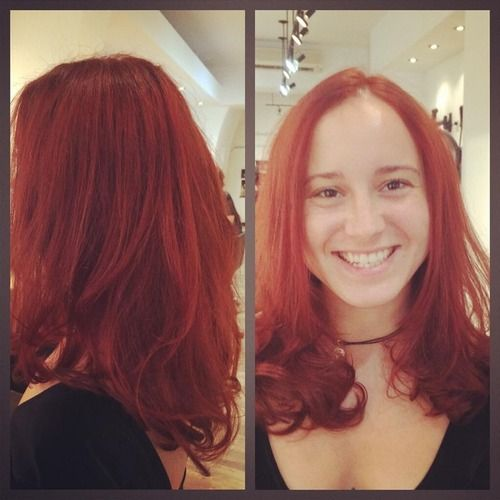 Had a blast making this lovely girl go bright red with an nice fresh cut and smooth round layering