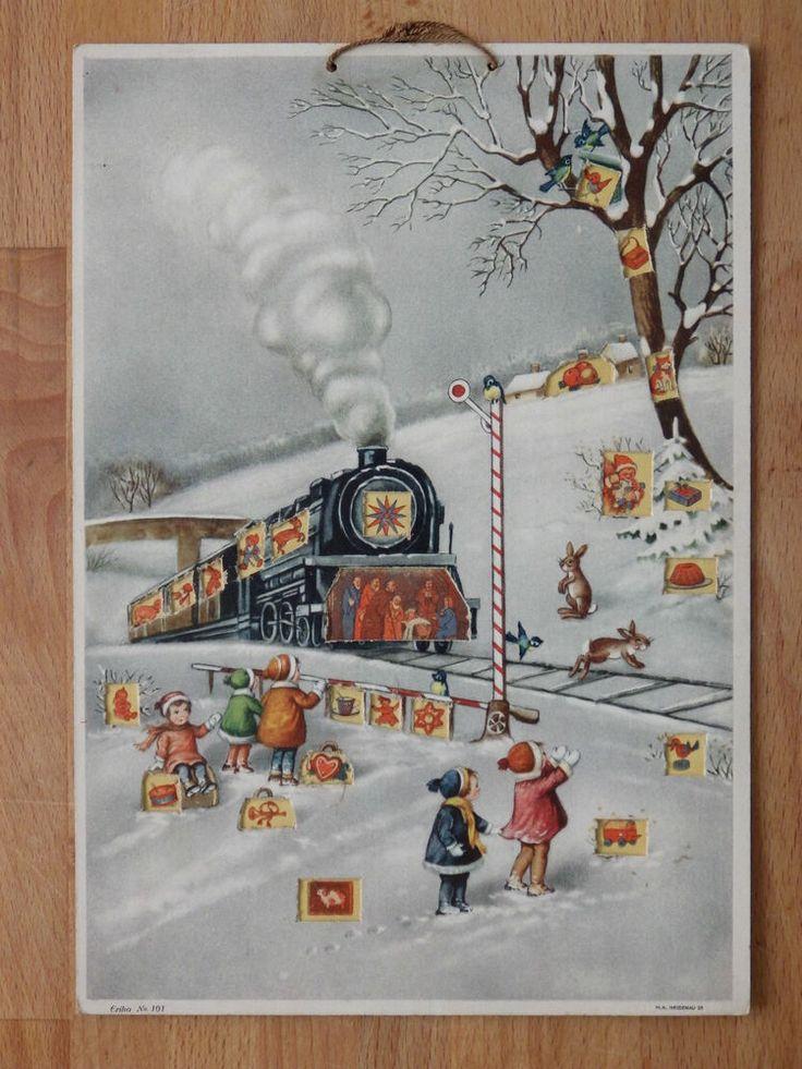 alter Adventskalender Eisenbahn und Kinder im Schnee Erika No. 101 um 1940