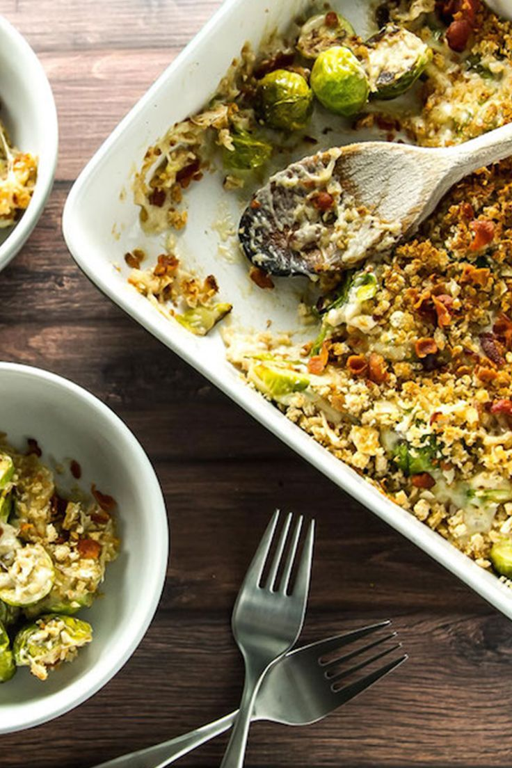 Brussels sprouts gratin, a healthy alternative. Get the recipe.