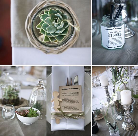 Karoo farm-style wedding, table setting. Jar full of wishes