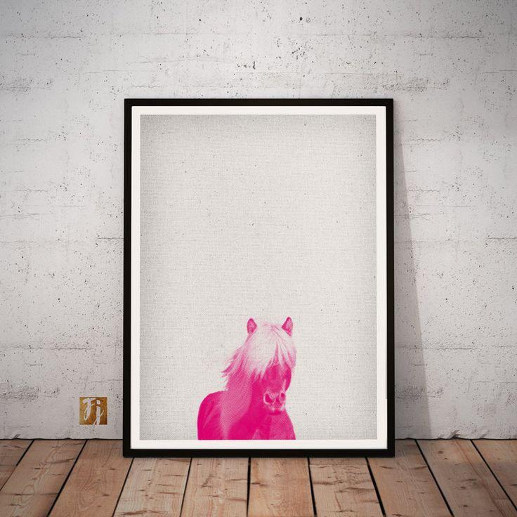 Horse Print, Safari Kindergarten Wall Art, Animal Print, pink Dekor, printable Poster, Download, Nursery, Livingroom, Halftone von FroileinJuno auf Etsy