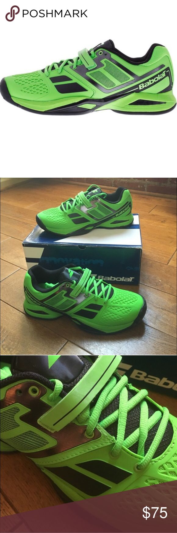 Babolat Men's Green Tennis Sneakers, NIB size 10.5 Babolat men's tennis sneakers, new in box, size 10.5. Bright electric green and gray. Babolat Propulse BPM tennis shoes are engineered to boost the rhythm of your game with the Babolat Pure Motion (BPM) system, developed to enhance your footwork for more effective shifts in direction, and stops and starts, you can depend on the supportive construction, locked-in fit and flexible performance. #babolat #tennis #sneaker #mens #green #gray…
