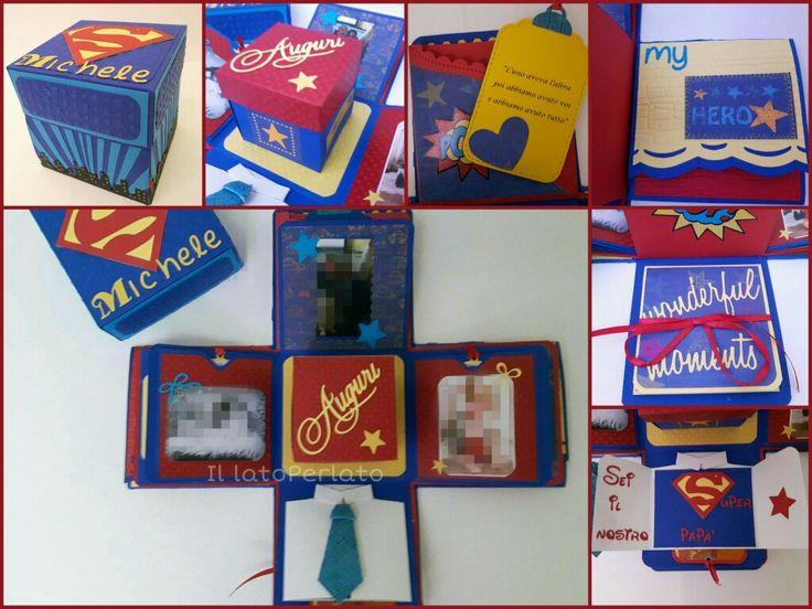 Il lato Perlato: explosion box tema superman... per un super papà