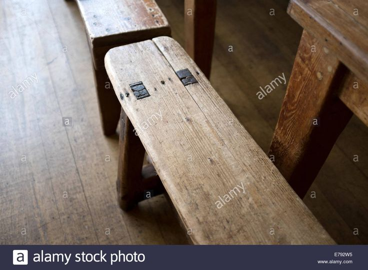 Download this stock image: Worn very old wooden bench seat vintage victorian - E792W5 from Alamy's library of millions of high resolution stock photos, illustrations and vectors.
