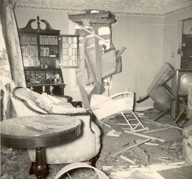 Interior Damage From The Tornado At 129 Uncatena Avenue June 1953 Worcester Massachusetts Donated By Greene Family WorcesterMA