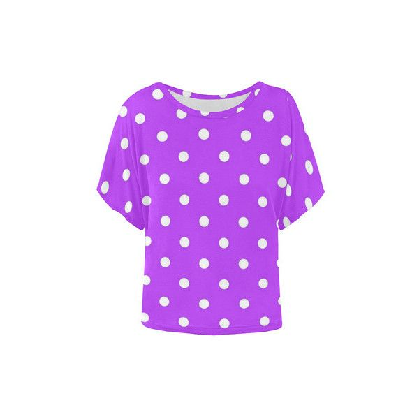 Royal Purple White Dots Women's Batwing-Sleeved Blouse T shirt (Model... ($23) ❤ liked on Polyvore featuring tops, dot top, white top, batwing sleeve tops, white polka dot top and purple top