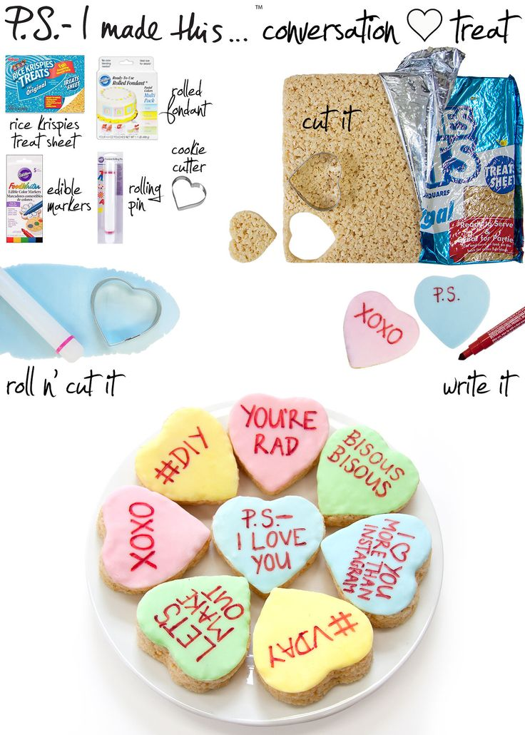 "Valentine's Day is the perfect time for you to show those nearest and dearest to you just how much you luv them, so make someone special something personal that comes from the heart. Trade in those traditional cards and boxes of chocolates for a personalized treat that's clever, ""krispy"" and sweet. Gather a group of creative Cupids for a deliciously expressive V-Day DIY!      To create: Cut hearts out of the Rice Krispie treat sheet with a cookie cutter. Flatten the fondant"