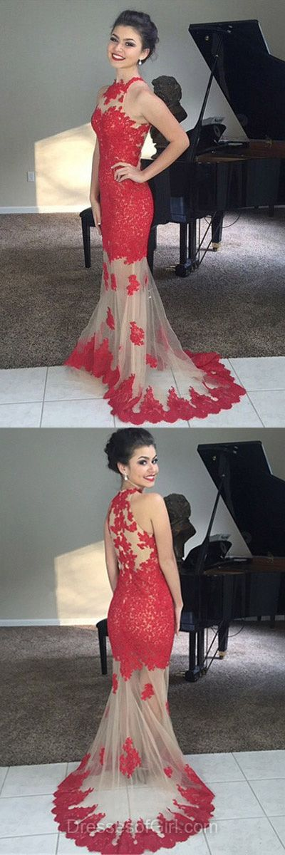 Lace Prom Dress, Long Prom Dresses, Mermaid Evening Gowns, Red Party Dresses, High Neck Formal Dresses