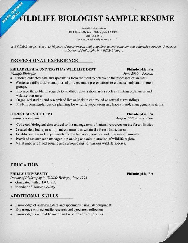 Zoology Resume Examples | resume examples office | Resume objective ...