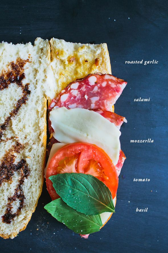 Picnic Sandwich: roasted garlic oil spread, fresh mozzarella, tomato, basil, balsamic // Say Yes