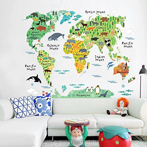 Elegant Wandaro W Wandtattoo Weltkarte mit Tieren Kinderzimmer Atlas
