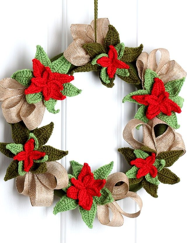 free crochet pattern christmas poinsettia wreath couronne de bienvenue deco noel et bienvenue. Black Bedroom Furniture Sets. Home Design Ideas