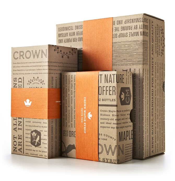 SECONDARY RESEARCH: A rectangular cardboard box (the image show three boxes with differing dimensions), surface text and images have been printed on the box itself, with the addition of an orange sleeve printed with the branding of the company.