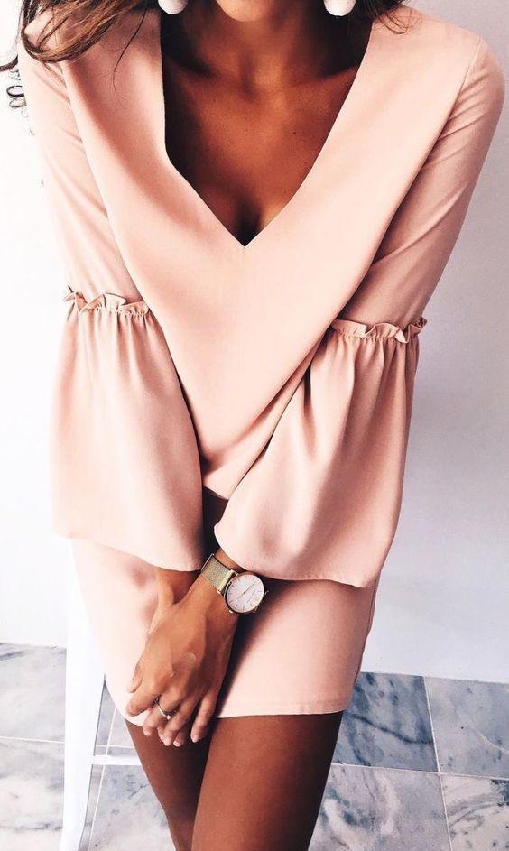 #summer #outfits blush v neck playsuit