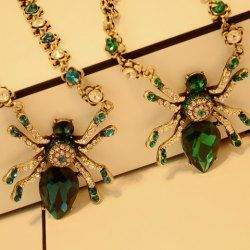 $10.03 Gorgeous Diamante Faux Crystal Embellished Spider Pendant Necklace For Women