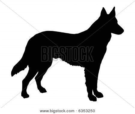 German Shepherd Silhouette Malibu Tattoo Ideas