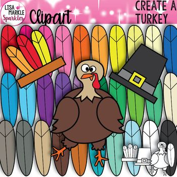 Now you can create every turkey activity you could possibly think of! This versatile turkey graphics set comes with one adorably goofy turkey, individual feathers in 30 different colors, a pilgrim hat and a Native American feather band. It also includes black and white versions of each graphic for