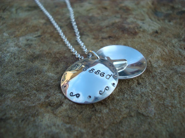 Blessed Hand-Stamped Domed Locket Necklace, Sterling Silver    Wear this necklace to remind you of the many blessings in your life.
