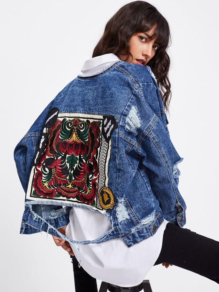 Blue Denim Embroidered Distressing Jacket