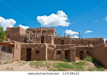 indian adobe house pictures | Adobe house in Taos Pueblo, NM - stock photo