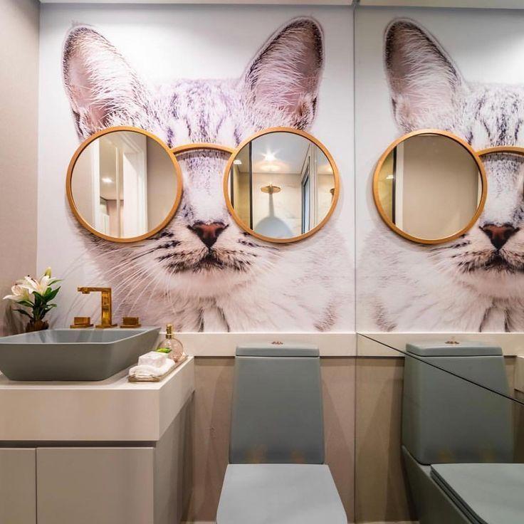 Bathroom With Cat S Eye Round Mirrors Decor Design Salon Decor