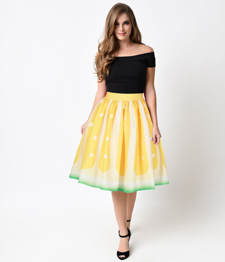 Listed Women Printed Fruits Series Melon Sexy Slim Elastic A-Line Skirts