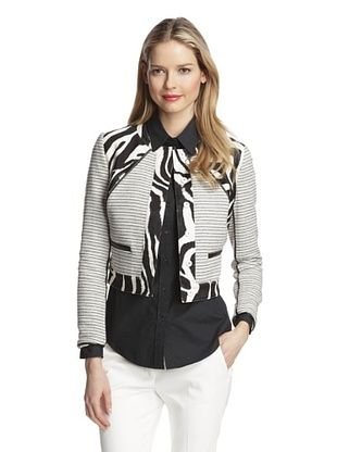 70% OFF Magaschoni Women's Zebra Blocked Boucle Jacket (Zebra Multi)