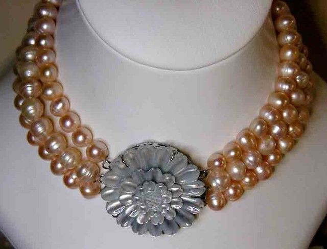 PINK HUES PEARL NECKLACE PLUS 12 FREE PEARLS 9690  pearl necklace