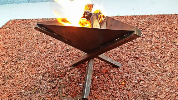 Handmade outdoor metal modern firepit- Industrial fireplace garden and yard