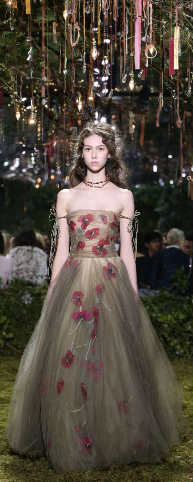 "Christian Dior Official pictures, S/S 2017 - Couture - ""Mémoire d'Été"" - Sage, cactus and olive green dégradé layered tulle dress with herbal-inspired poppy embroidery. Angry dragonfly. - http://www.orientpalms.com/Christian-Dior-6609"