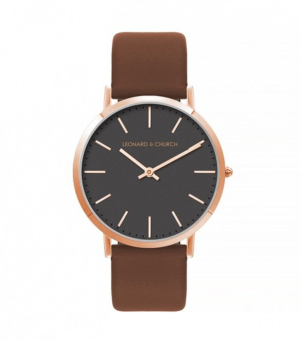 Leonard & Church Varick Brown and Rose Gold Watch