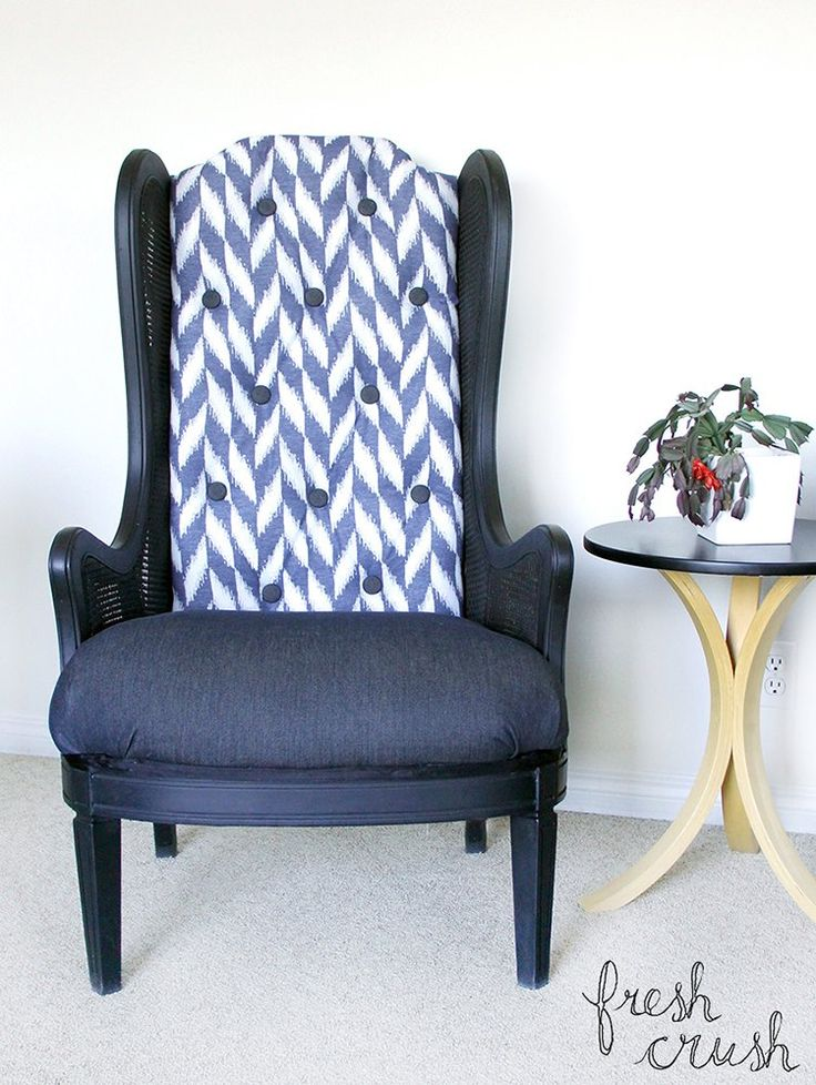 I found a pair of fantastic, but beat up and outdated, arm chairs online. Because of the wood frame I knew (or at least, hoped) the reupholstery job would be gr…