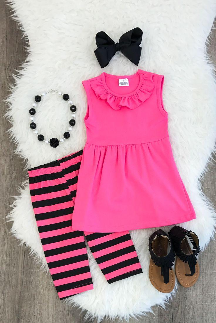 Hot Pink & Black Stripe Capri Set - Sparkle in Pink