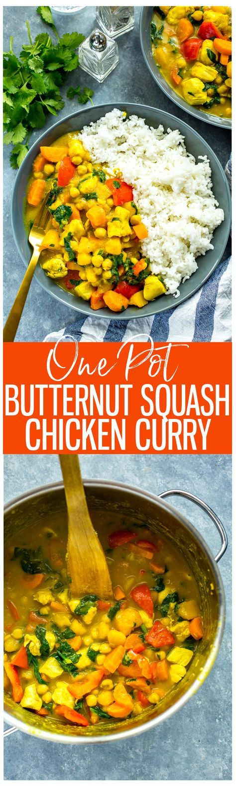 This One Pot Butternut Squash Chicken Curry with coconut milk & chickpeas is a protein-filled, heartwarming fall meal that comes together in under 40 minutes!
