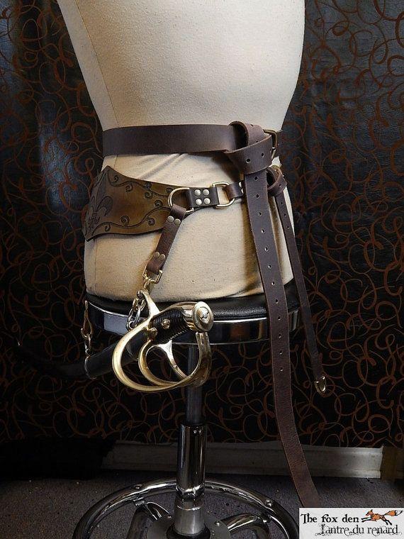 Cavalry saber sword double leather belt luxury by lantredurenard