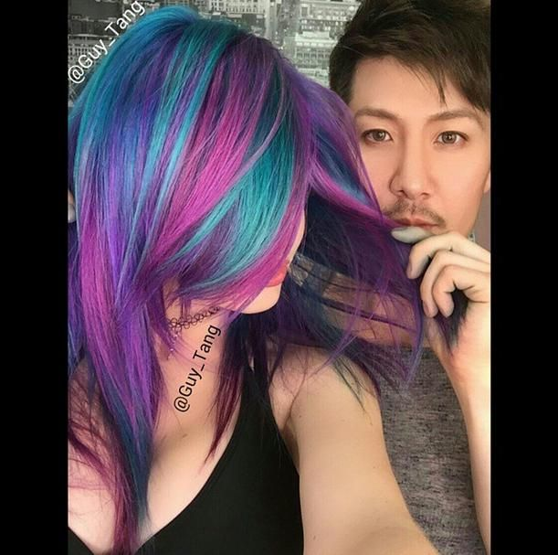Another amazing creation by @guy_tang using Kenra Color Creative! He used #KenraColor Lightener and #KenraColorCreative Teal, Pink, Violet, and Blue. #guytang #rainbowhair #kenraprofessional
