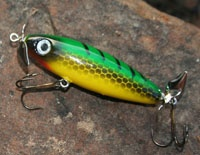 Gilmore Lure photo copyright Brad Wiegmann Outdoors http://www.bradwiegmann.com/lures/hand-crafted/53-sweet-sugar-pine-topwater-lures.html#