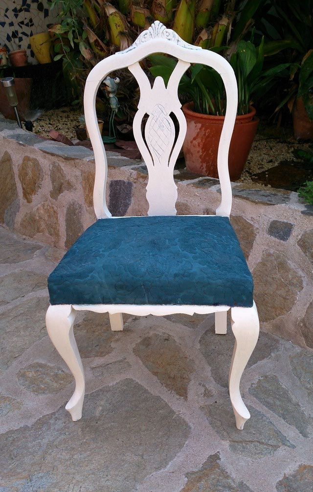 Pintar una silla y su asiento con Chalk Paint: Resultado final de la silla renovada, incluso en su asiento, con Chalk Paint