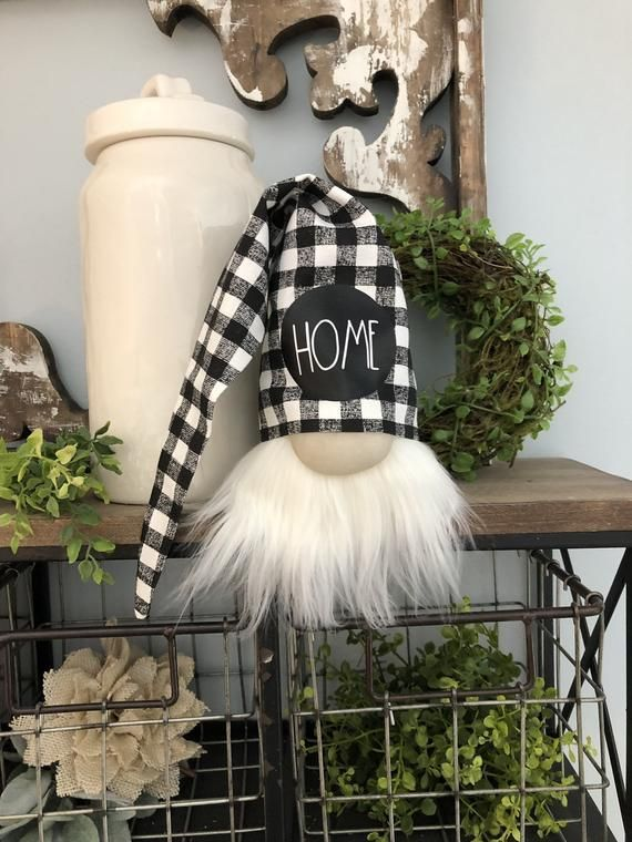 Gnome Buffalo Plaid Home Gnome Head Shelf Sitter Gnome With Buffalo Check Hat Includes Gnome On Buffalo Plaid Decor Rae Dunn For Sale Tiered Tray Decor