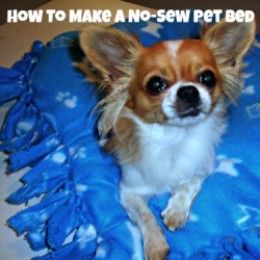 How to make a no-sew pet bed for dogs and cats using just fleece material and stuffing. These make great gifts for your furry friends or for your local animal shelter. Easy craft for kids too! #giftables
