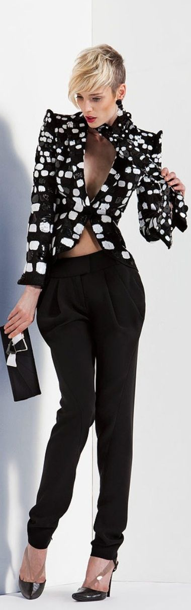 Adore this jacket, but the pants are so skinny at the bottom that they make her thighs stand out.