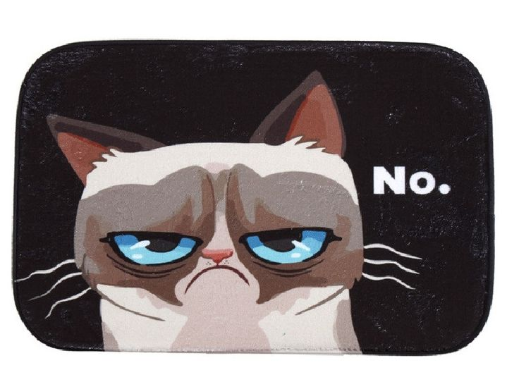 Floor Mat Funny Grumpy Cat Printing Carpet Suede Absorbent Shower Bathroom Mat Toilet Rugs Kitchen Mat Home Decoration alfombras