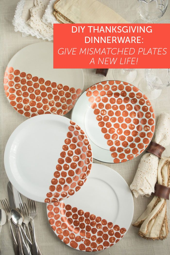 DIY Thanksgiving Dinnerware: Give Mismatched Plates a New Life!      Tried this with little man for Christmas gifts one year but couldn't prevent paint poisoning... Maybe we needed porcelain paint?