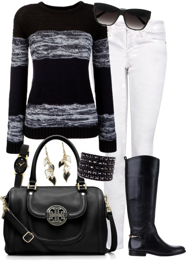 """""""black and white casual Friday"""" by tina-harris ❤ liked on Polyvore"""