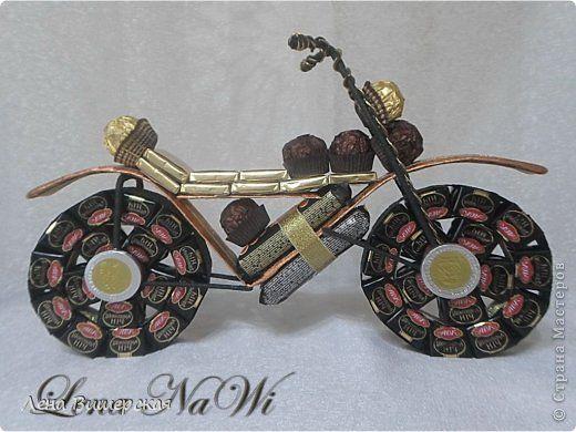 Макет модель Свит-дизайн День рождения День учителя Свадьба Моделирование конструирование Мотцикл Сердце и еще  Бумага гофрированная Ленты фото 1