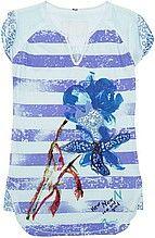 футболка, женская, голубая, полосатая, с принтом